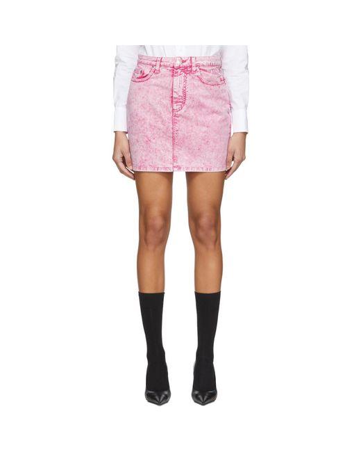 MSGM ピンク ウォッシュ デニム ミニスカート Pink