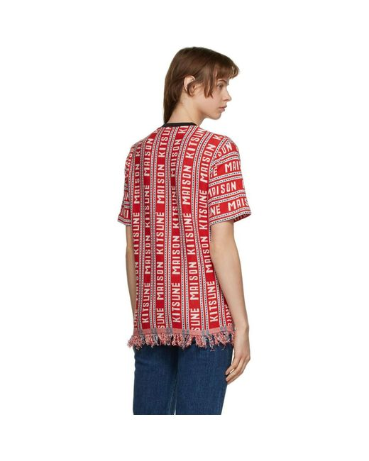 Maison Kitsuné レッド All-over T シャツ Red