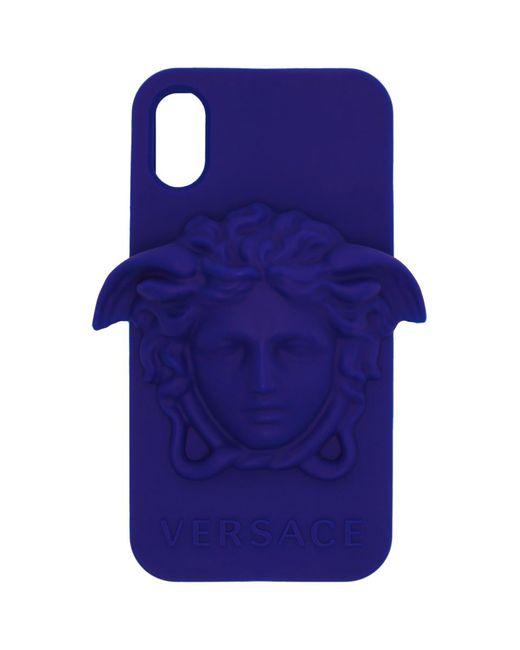 メンズ Versace ブルー メドゥーサ Iphone X ケース Blue