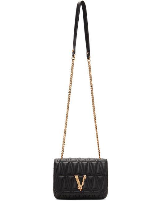 Versace ブラック & ゴールド キルティング Virtus バッグ Black