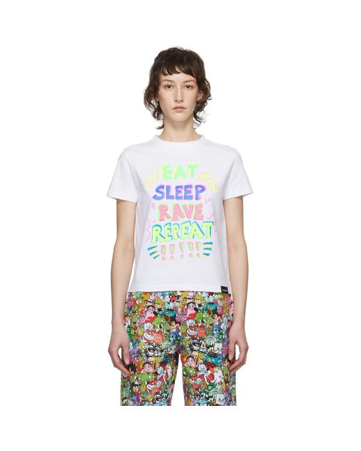 Vetements White Eat, Sleep, Rave, Repeat T-shirt