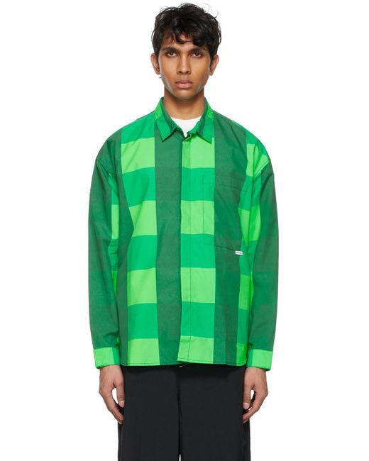 メンズ Sunnei グリーン チェック オーバーシャツ Green