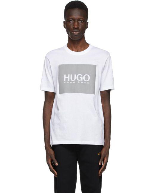 メンズ HUGO ホワイト & グレー リフレクティブ ロゴ T シャツ White