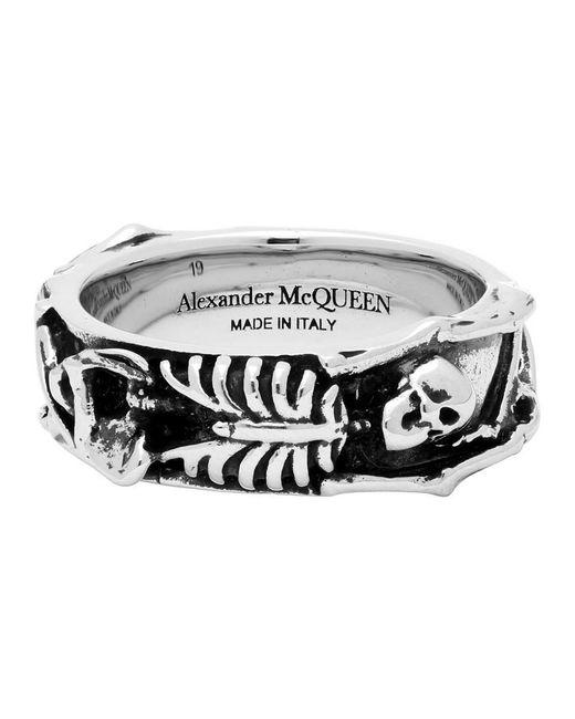 メンズ Alexander McQueen シルバー ダンシング スケルトン リング Metallic