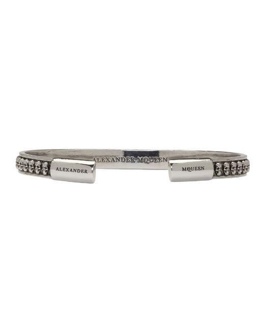 Alexander McQueen - Metallic Silver Thin Multi Skull Bracelet - Lyst