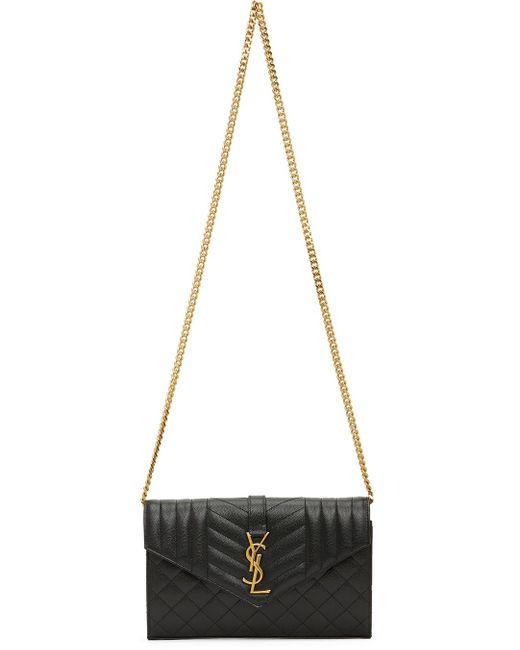 Saint Laurent ブラック モノグラム エンベロープ Wallet On Chain バッグ Black
