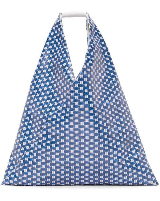 MM6 by Maison Martin Margiela ブルー フェイクレザー ミディアム トライアングル トート Blue