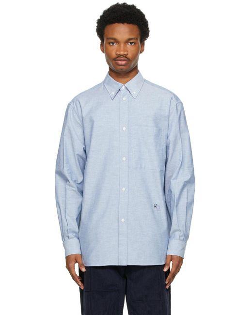 メンズ Loewe ブルー オックスフォード シャツ Blue