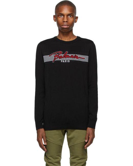 メンズ Balmain ブラック & レッド ロゴ セーター Black