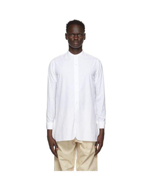 メンズ Maison Margiela ホワイト Collarless シャツ White