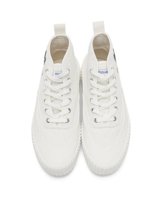 メンズ Maison Kitsuné ホワイト Acide Fox パッチ ハイトップ スニーカー White