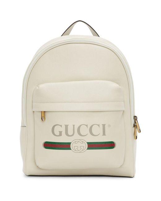 メンズ Gucci ホワイト プリント バックパック White
