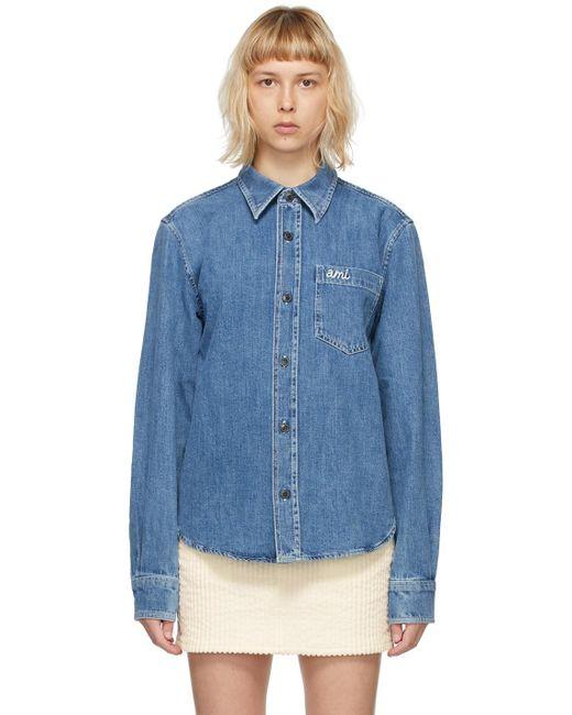 AMI ブルー デニム オーバーシャツ Blue