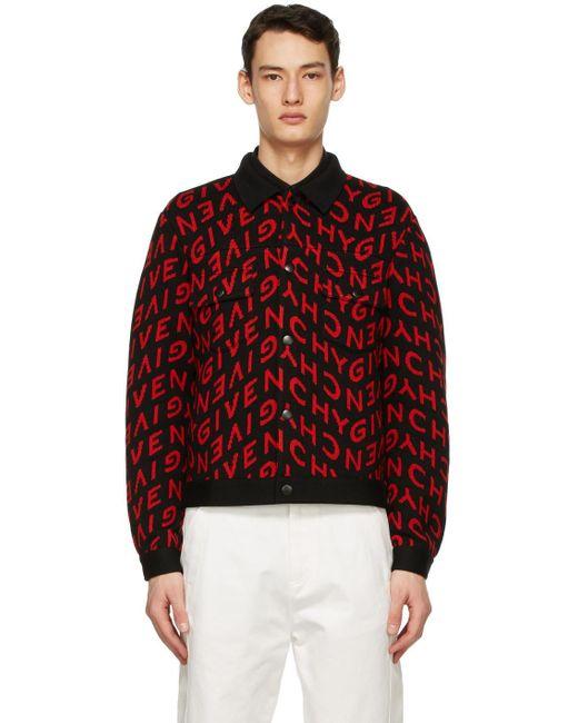 メンズ Givenchy ブラック & レッド Refracted ロゴ ボンバー ジャケット Red