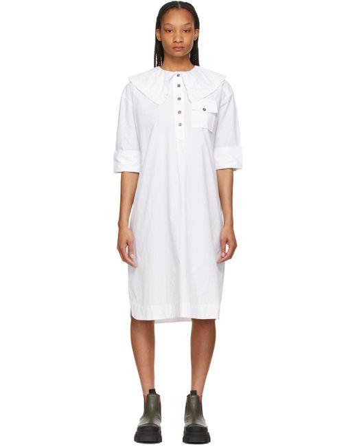 Ganni ホワイト オーバーサイズ シャツ ドレス White