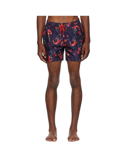 Paul Smith - Blue Shrimp Print Swim Short for Men - Lyst