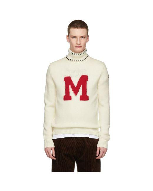 メンズ Moncler Genius ホワイト グラフィック Maglione タートルネック White