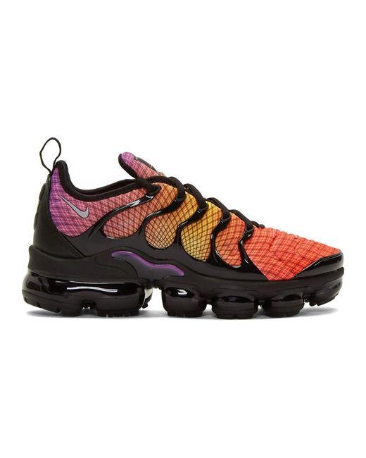 メンズ Nike ブラック And オレンジ エア ヴェイパーマックス プラス スニーカー Multicolor