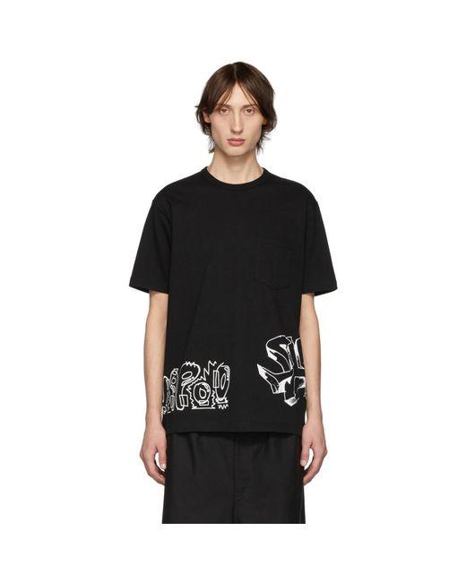 メンズ Comme des Garçons ブラック ジャージ グラフィック T シャツ Black