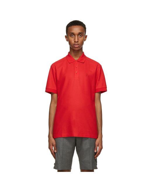 メンズ Burberry レッド Eddie ポロシャツ Red