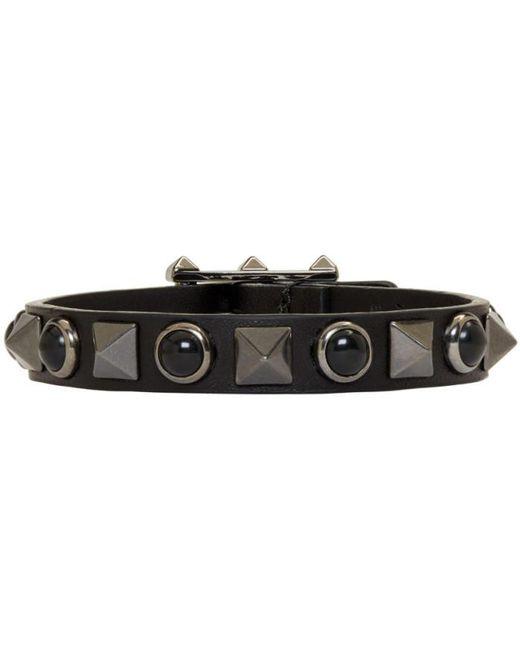 Valentino | Black Leather Rolling Rockstud Bracelet for Men | Lyst