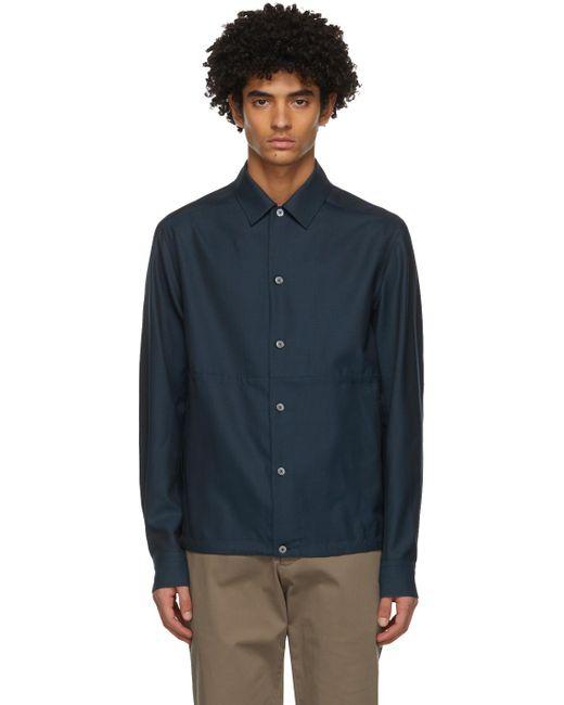 メンズ Ermenegildo Zegna #usetheexisting コレクション ネイビー ウール & シルク シャツ ジャケット Blue