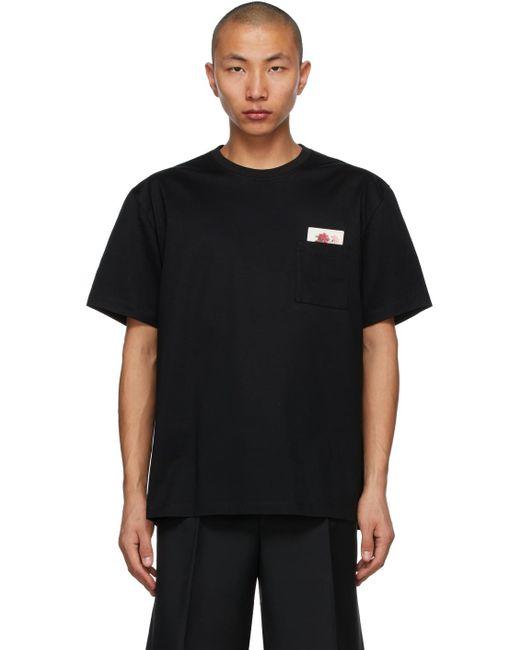 メンズ Wooyoungmi ブラック Floral Pocket T シャツ Black