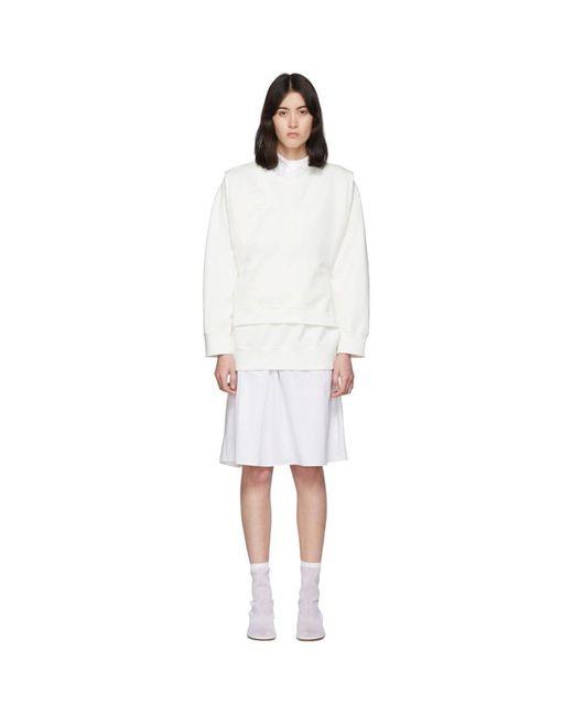 MM6 by Maison Martin Margiela オフホワイト V-bib スウェットシャツ White