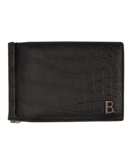 メンズ Balenciaga ブラック クロコ B. ビル クリップ スクエア ウォレット Black