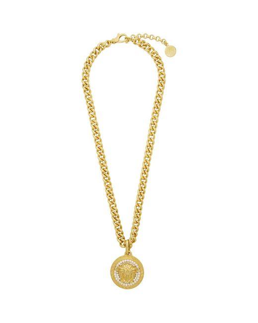Versace Metallic Gold Crystal Medusa Necklace for men