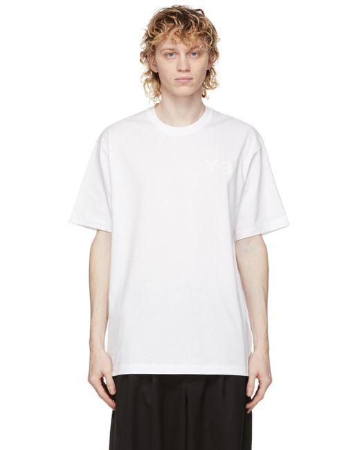 メンズ Y-3 ホワイト ロゴ T シャツ White