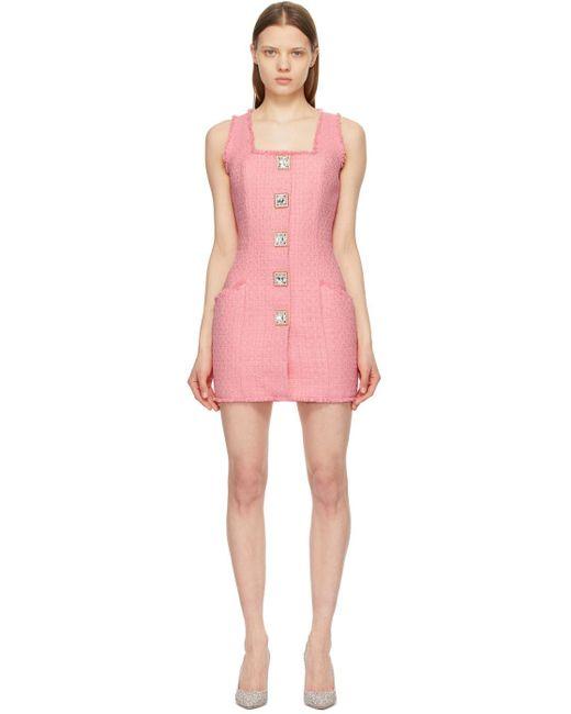 Balmain ピンク Square Button ノースリーブ ドレス Pink