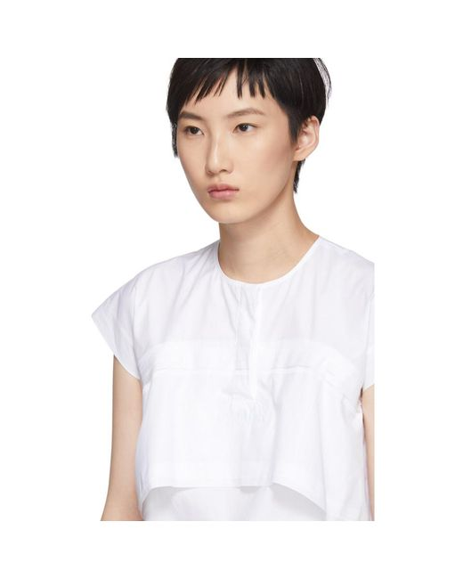 Clearance Many Kinds Of Clearance Shopping Online White Poplin Double Layered Blouse Carven Y5asuQ