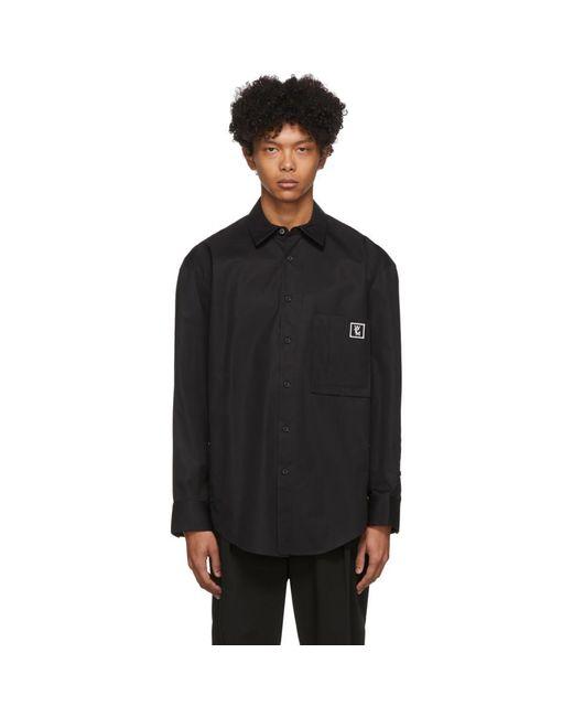 メンズ Wooyoungmi ブラック ポプリン クレスト シャツ Black