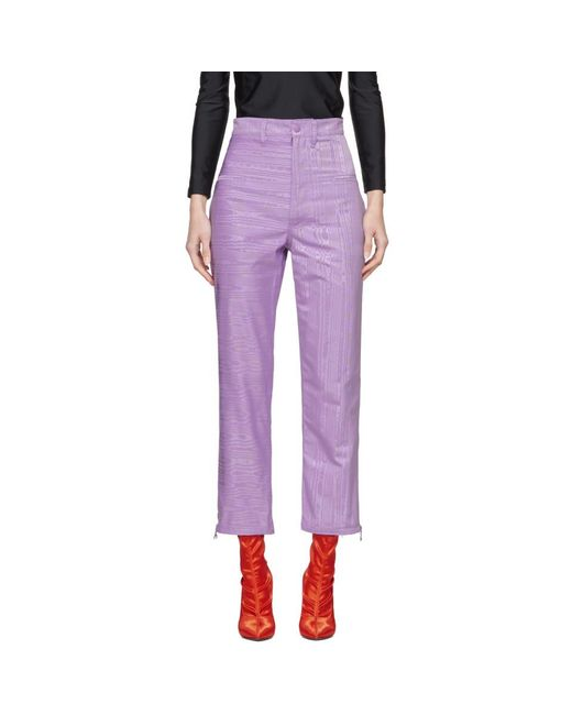 MARINE SERRE - Purple Moire Trousers - Lyst