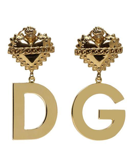 Dolce & Gabbana - Metallic Gold Dg Heart Clip-on Earrings - Lyst