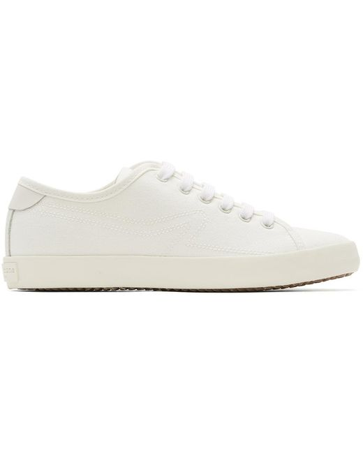 Rag & Bone White Court Low Leather And Canvas Sneaker