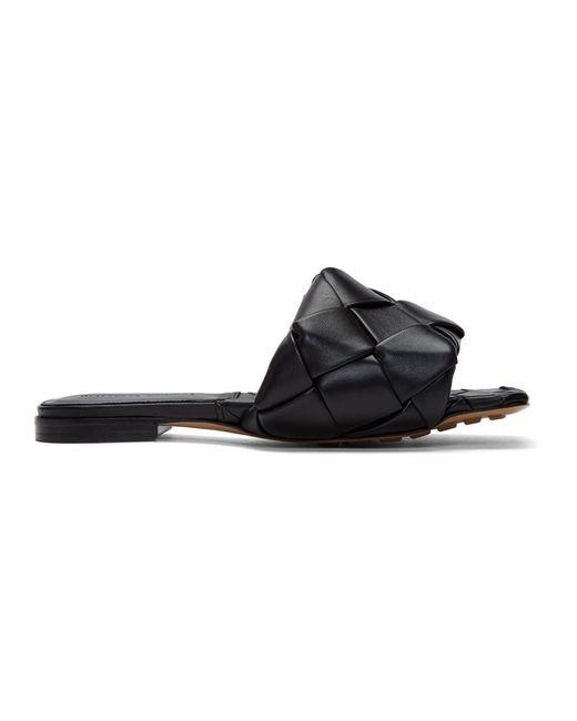 Bottega Veneta ブラック イントレチャート Lido フラット サンダル Black
