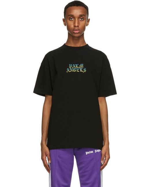 メンズ Palm Angels ブラック Hue Gothic ロゴ T シャツ Black