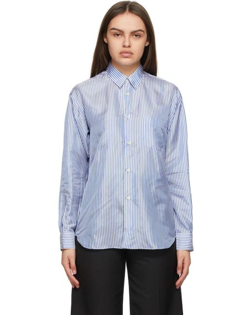 Comme des Garçons ブルー & ホワイト ストライプ Forever シャツ Blue