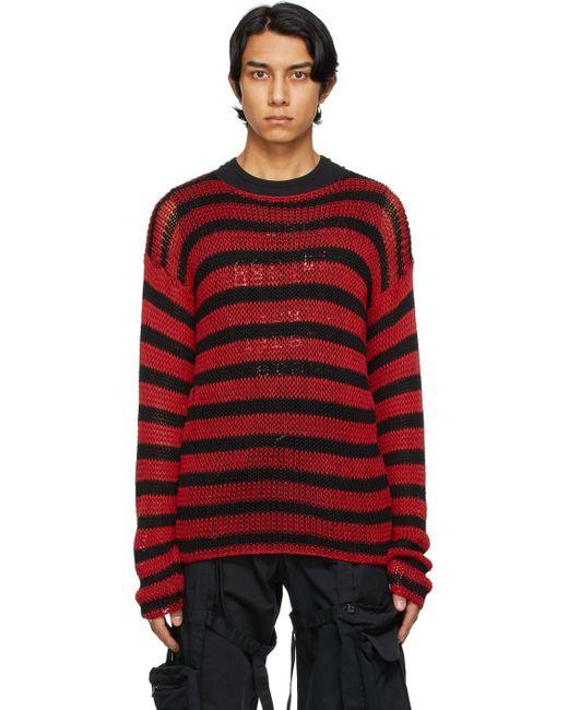 メンズ Raf Simons ブラック & レッド ストライプ セーター Red