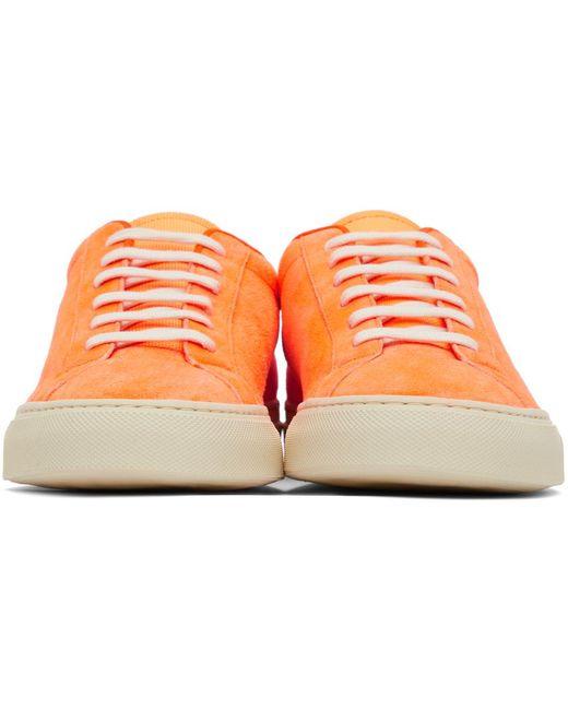 メンズ Common Projects オレンジ Achilles ローカット スニーカー Orange