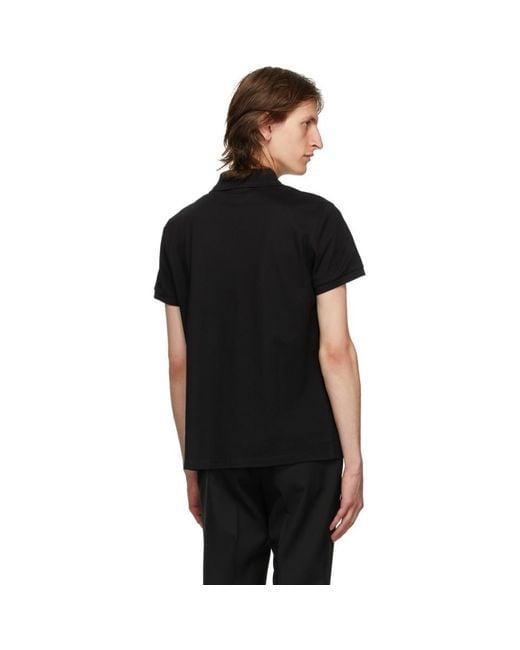 メンズ Saint Laurent ブラック ロゴ ポロシャツ Black