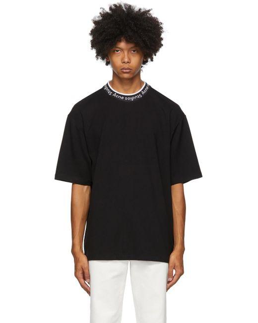 メンズ Acne ブラック ジャカード ロゴ T シャツ Black