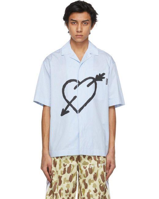 メンズ Palm Angels ブルー & ホワイト Pierced Heart ショート スリーブ シャツ Blue