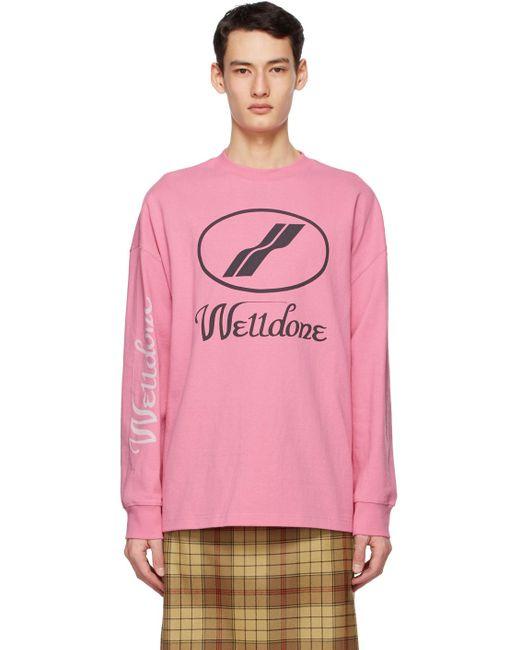 メンズ we11done ピンク ロゴ ロング スリーブ T シャツ Pink