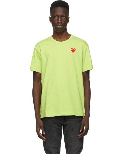 メンズ COMME DES GARÇONS PLAY グリーン Heart Patch T シャツ Green
