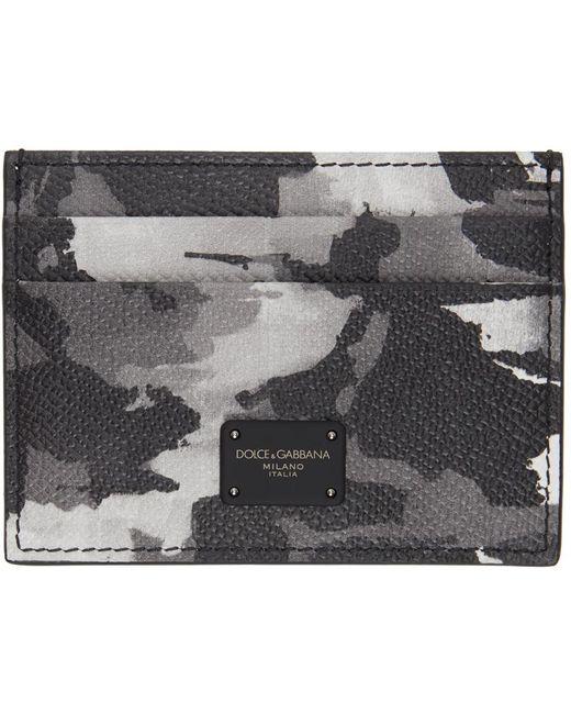 メンズ Dolce & Gabbana グレー 迷彩 カード ケース Gray