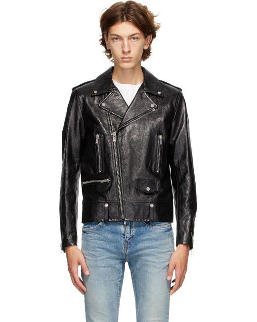 メンズ Saint Laurent ブラック レザー Classic バイカー ジャケット Black