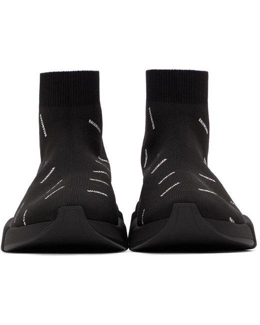 メンズ Balenciaga ブラック Speed 2.0 ロゴ スニーカー Black